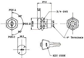 Flat Key (604) Electric Switch lock